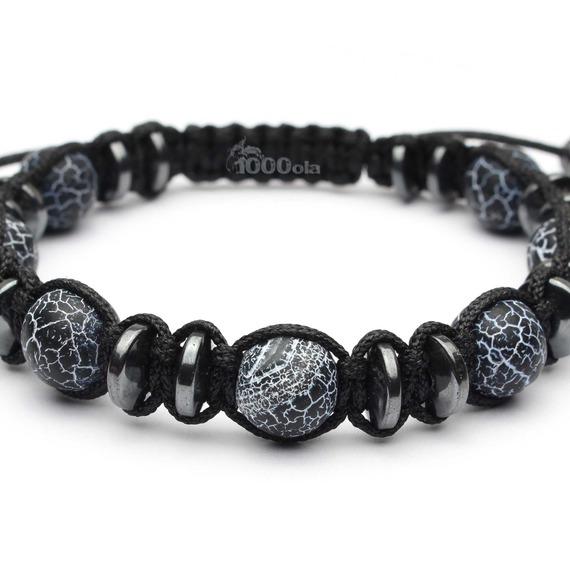 Bijoux Haut de Gamme Bracelet Homme Style Shamballa Perles Ø 10mm pierre naturelle agate onyx mat noir