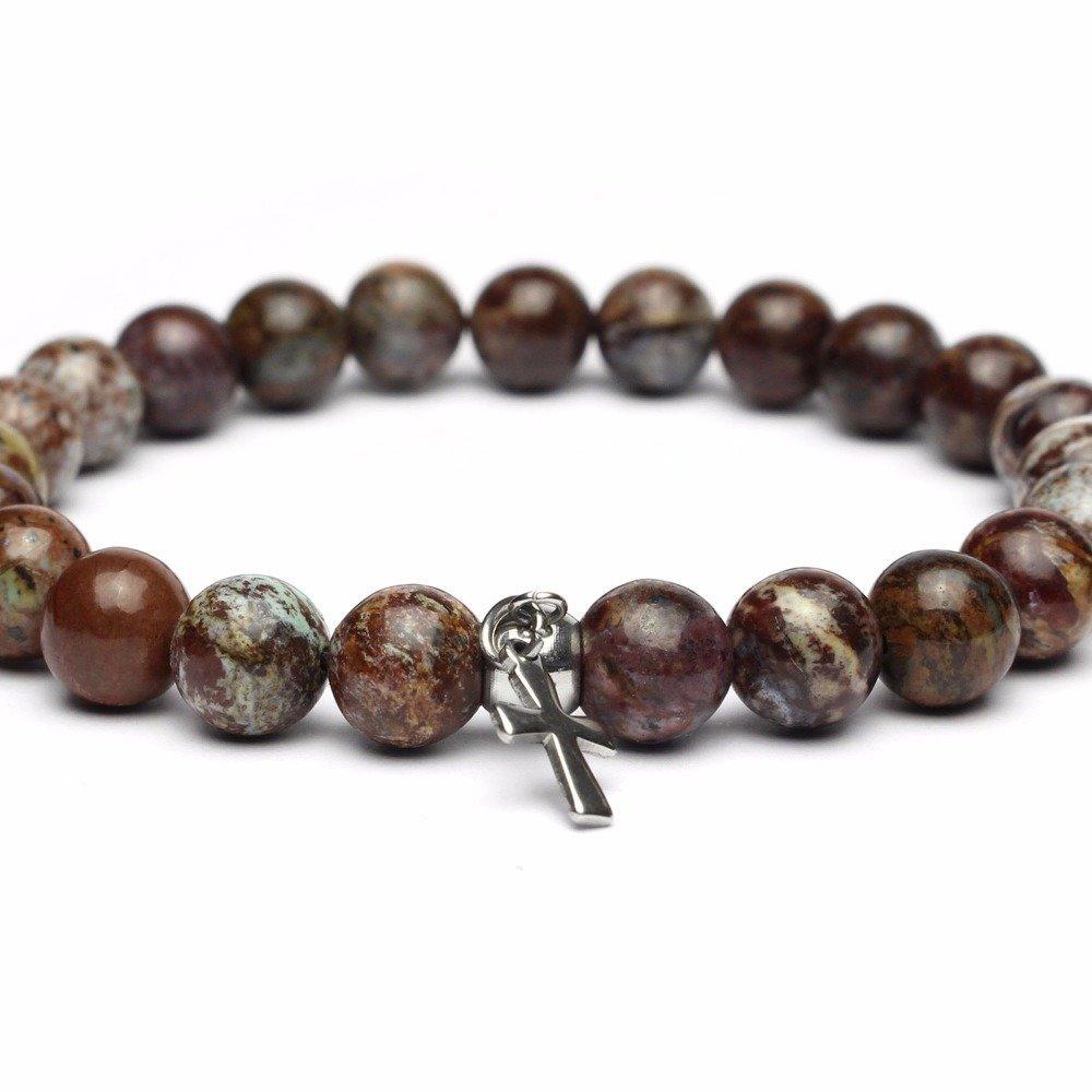 - Bijoux Haut de Gamme Bracelet Homme/Femme perles 8mm pierre naturelle gemme Opale croix en acier/métal inoxydable inox Fait main 1000ola
