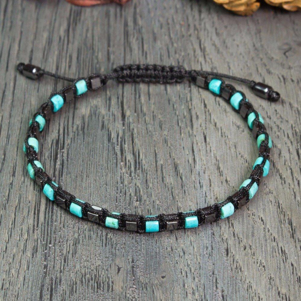 BRACELET Homme perles 4mm pierre gemme naturelle turquoise stabilisée Hématite cube fil nylon Fait main en France Création bijoux 1000ola