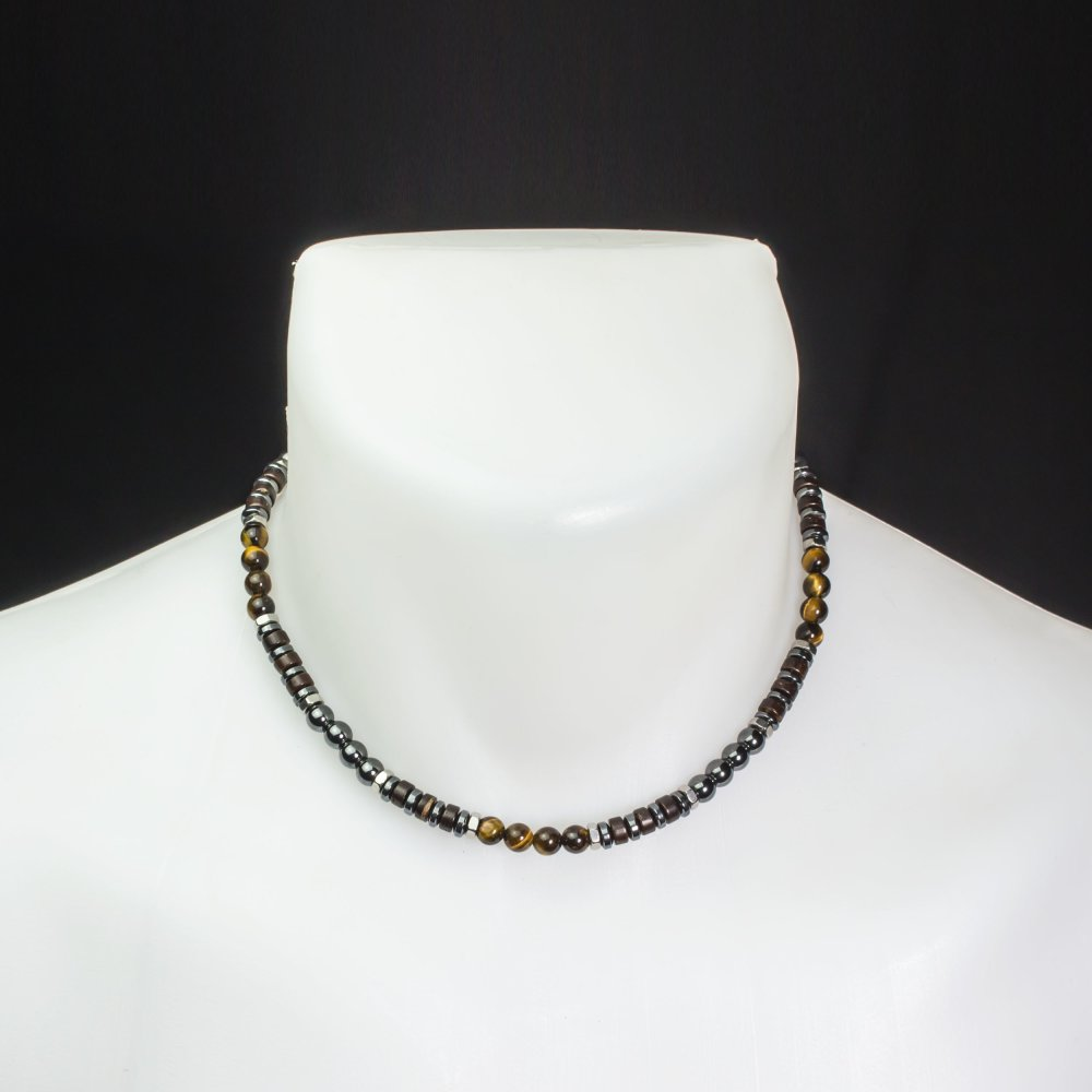 Collier homme/men's Perles Ø 6mm pierre naturelle Œil de tigre hématite bois coco anneaux hexagone Acier inoxydable Made in France
