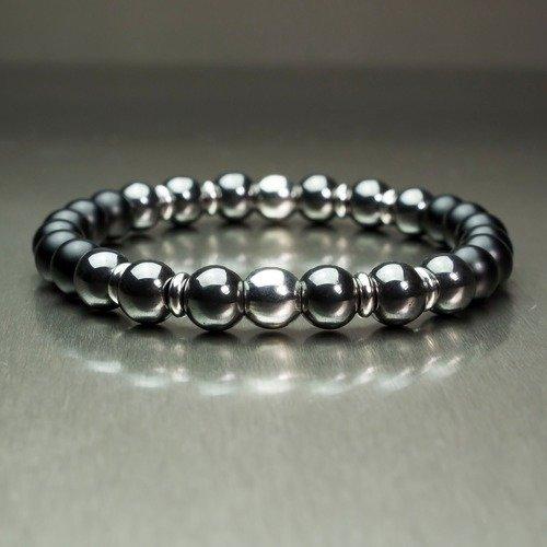 - bijoux haut de gamme bracelet homme perles 8mm pierre naturelle gemme agate noir mat  hématite deux perles en en acier/métal inoxydable inox fait main 1000ola