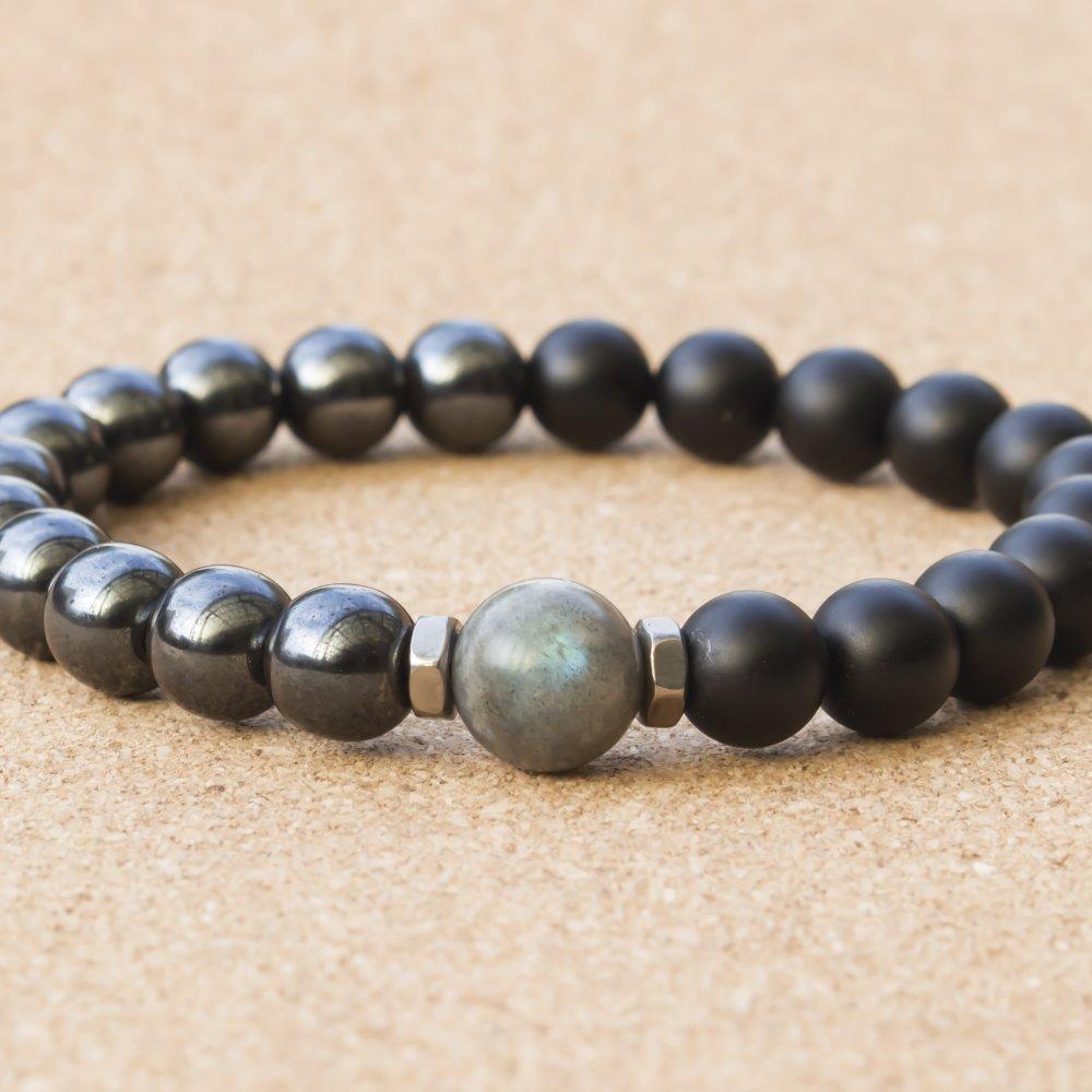 Bijoux Bracelet Homme perles pierre naturelle gemme 12mm Larvikite Labradorite 8mm Agate Noir Mat Hématite Anneaux Acier inoxydable