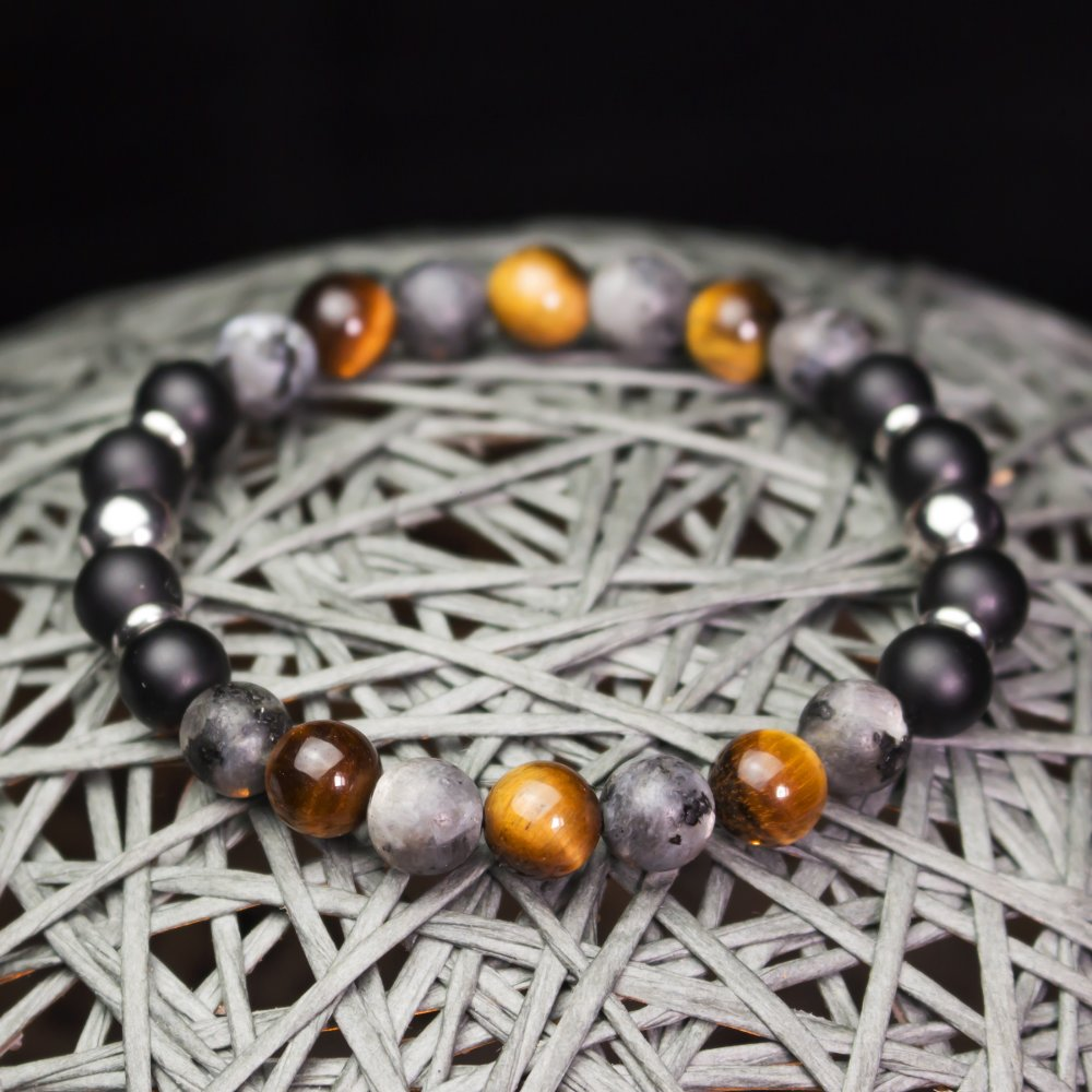Bijoux Bracelet Homme/Femme perles Ø8mm en pierre naturelle Œil de Tigre Labradorite Gris Mat Agate/Onyx Anneaux Acier inoxydable