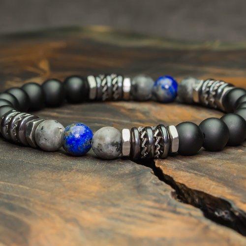 - bijoux haut de gamme bracelet homme perles 8mm pierres larvikite labradorite lapis lazuli agate/onyx hématite inox 1000ola