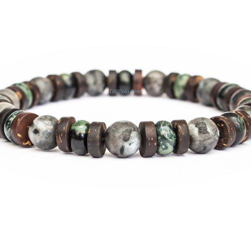 - bijoux haut de gamme bracelet homme perles 8mm pierres naturelles larvikite labradorit kambaba jasper vert bois cocotier fait main 1000ola