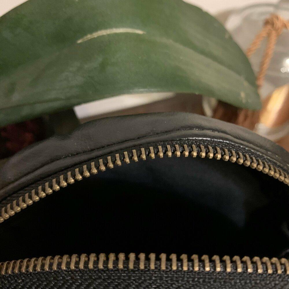 Sac Rond - motif pied de poule noir et cuivre