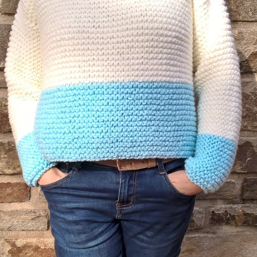 Pull court crop top femme taille 38 point mousse écru/turquoise