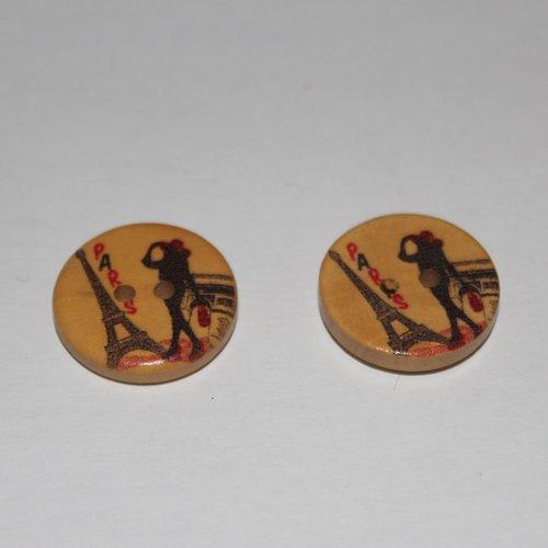 Lot 6 boutons bois paris accessoires de mercerie