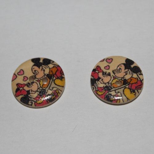6 boutons bois décoratif, accessoires de mercerie