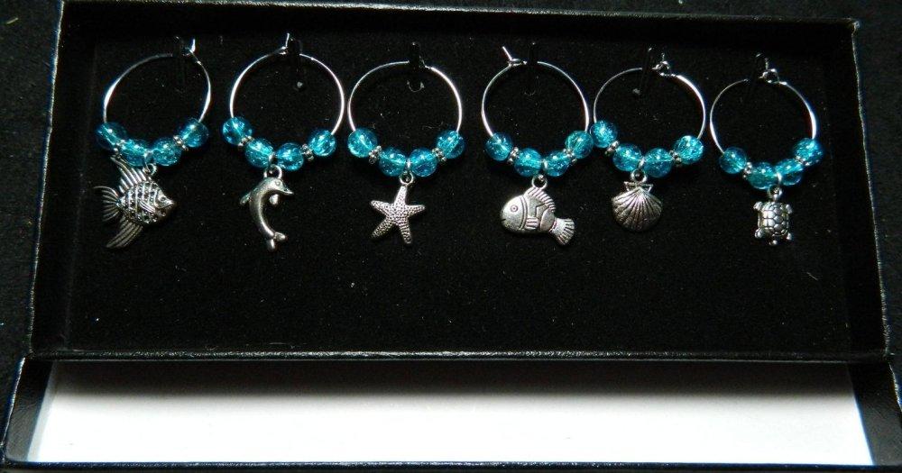 Boite de bijoux marqueur de verre à pied, thème la mer