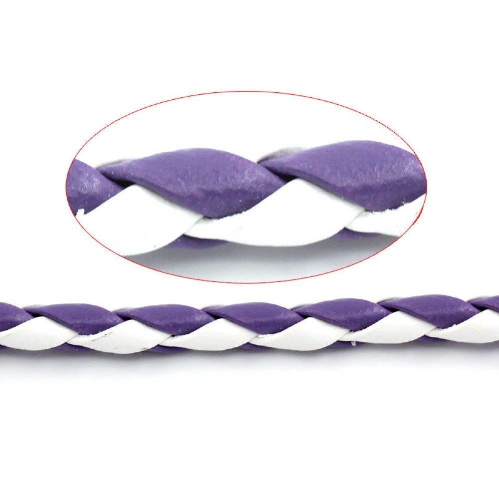 1 m cordon tressé cuir de couleur violet et blanc 4 mm