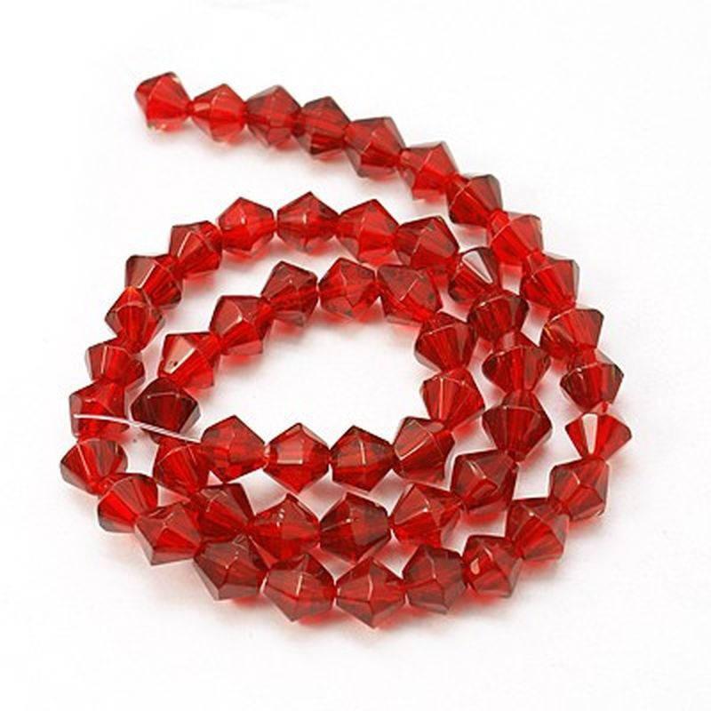 Perles à facettes, toupie, 6 mm, rouge, lot 20