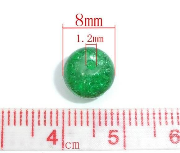 Perle ronde, verte, en verre craquelée, 8 mm, lot 10