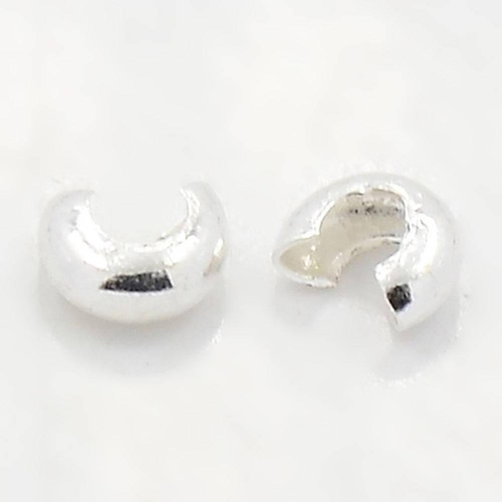 Lot 20 caches perles à écraser 3 mm argenté