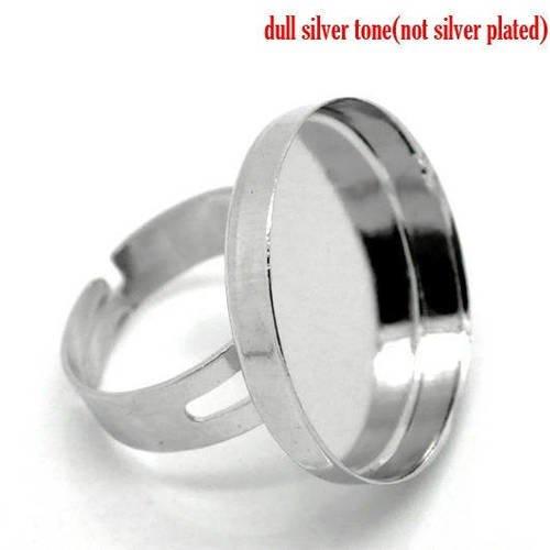 sur métal argenté Superbe Bague réglable  avec strass multicolor