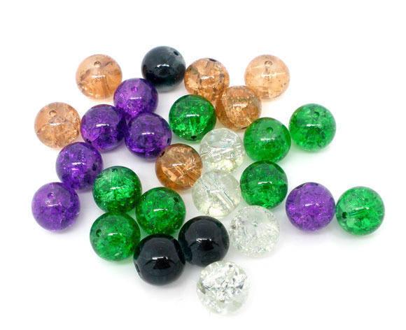Perles ronde, verre craquelée, vert, ambre, noir,violet, blanc, 10 mm, lot 10
