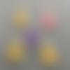 Breloques sapin de noël, émail jaune, violet, rose, charm, 21*12 mm, lot 5