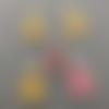 Breloques sapin de noël, émail jaune, rose , rouge, charm, 21*12 mm, lot 5