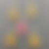 Breloques sapin de noel, émail jaune, rose charm, 21*12 mm, lot 5