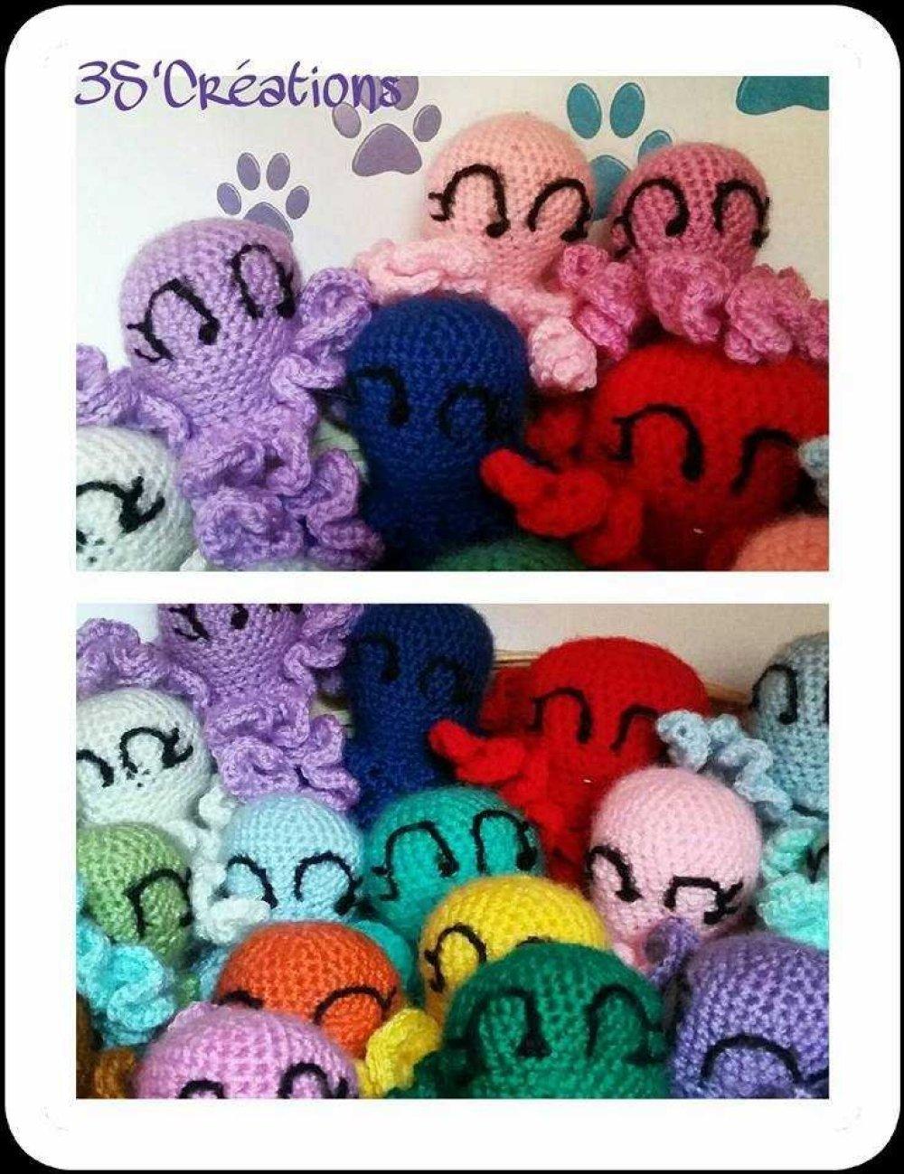 Lot de 2 Pieuvres en laine - jouet pour chats