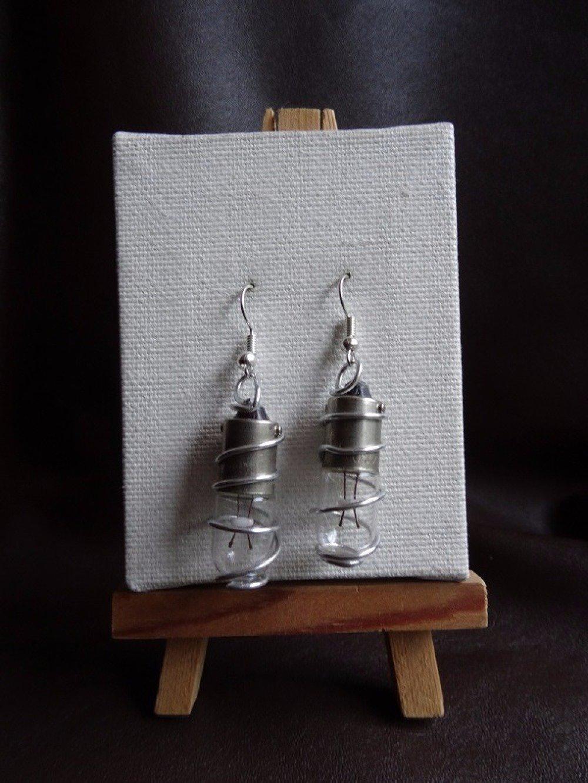 Boucles d'oreilles ampoules et fil aluminium argenté