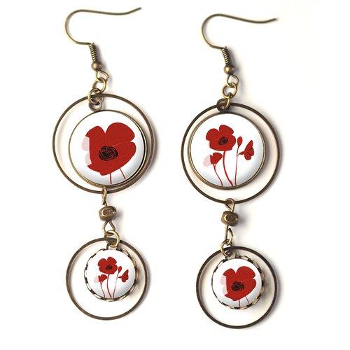 Fleuri inspiration Liberty fleuri couleur rouge et rose Boucles doreilles cabochon