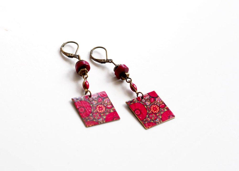 Boucles d'oreilles, Pendantes, Fleurs Rouge et Rose, Thème Indien, Bronze
