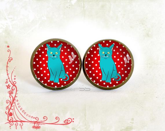 Puces d'oreilles cabochon verre chat bleu rouge à pois métal bronze