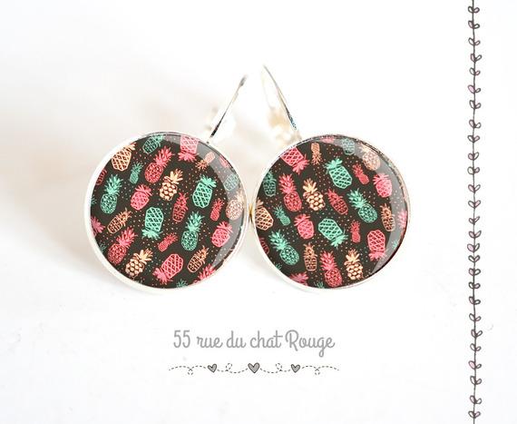 boucles d'oreilles cabochon 18 mm Ananas marron turquoise rose argentée