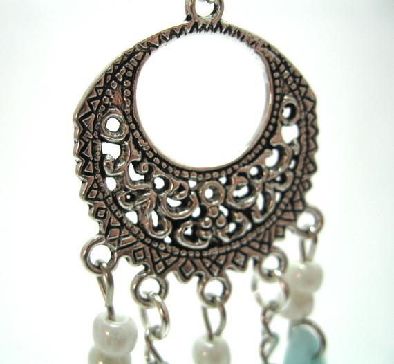 boucles d'oreille chandelier turquoises