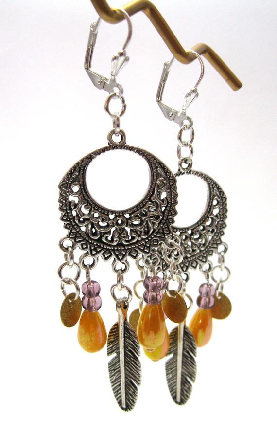 boucles d'oreille chandelier plume et perles