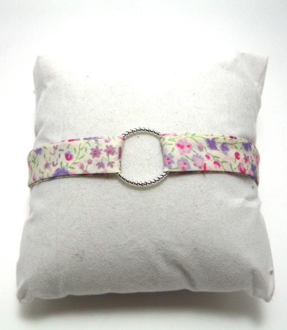 Bracelet liberty avec anneau en métal argenté