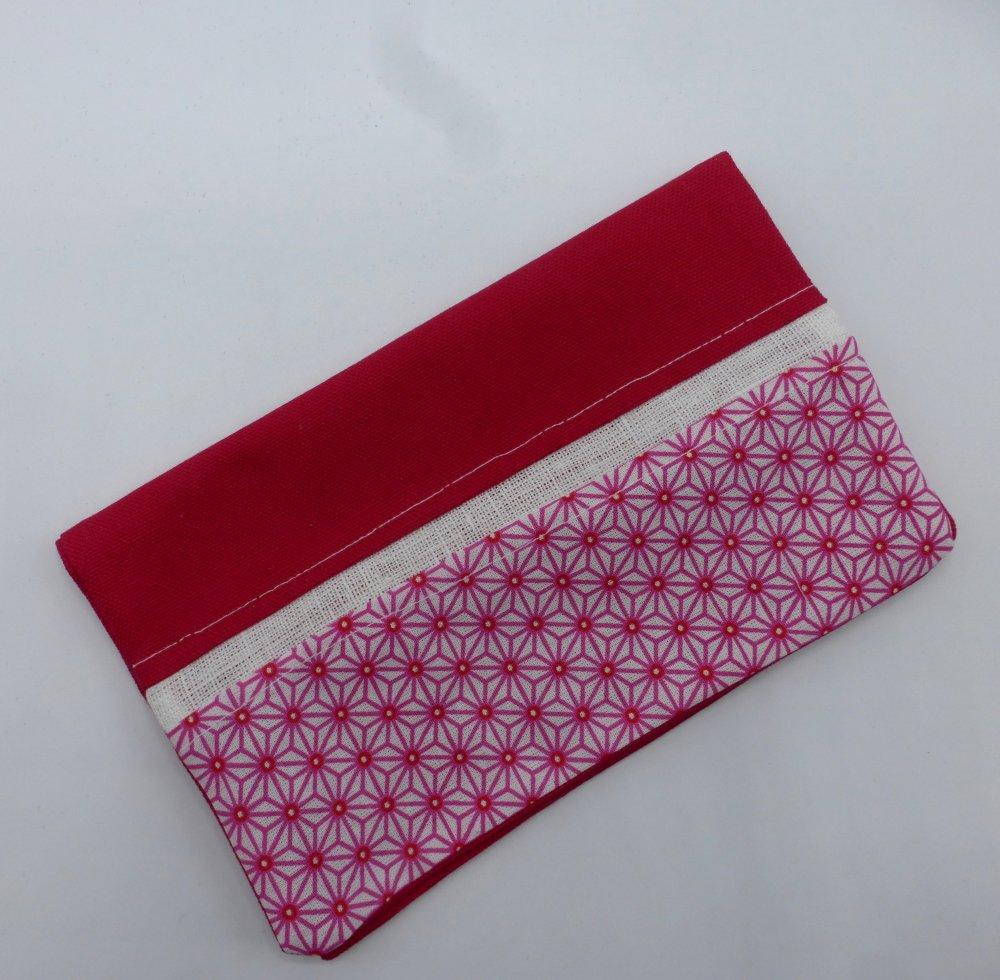 Protège chéquier origami fuchsia et blanc en coton et lin