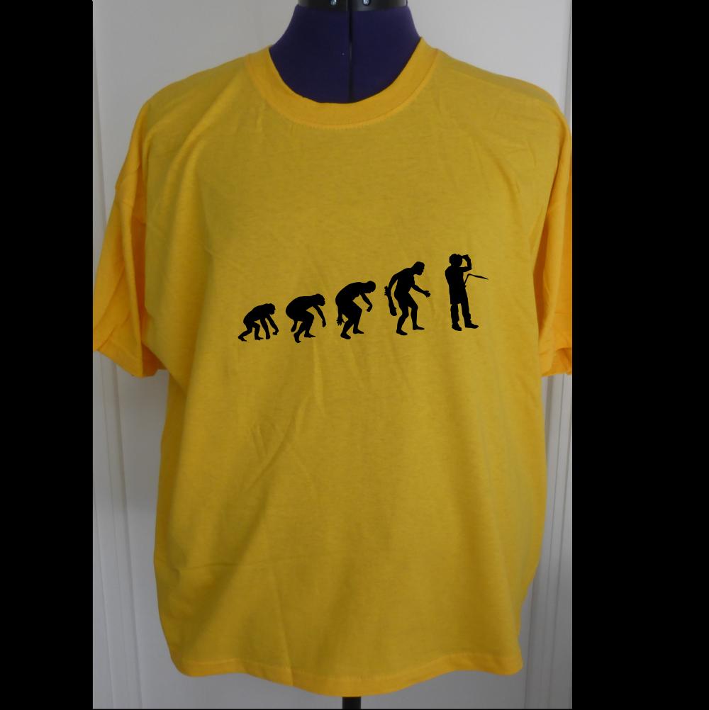 T-shirt coton soudeur evolution theory jaune pour homme  s-xxl