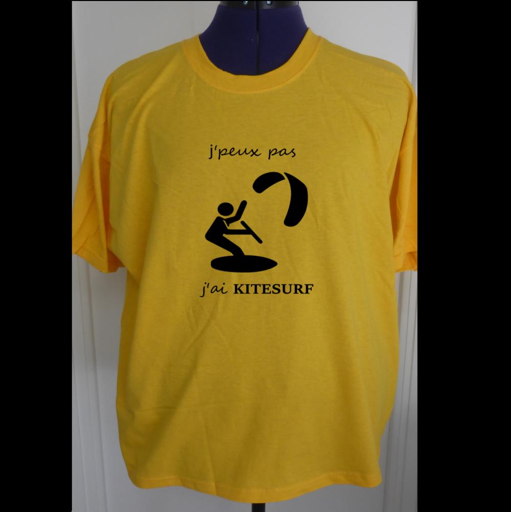T-shirt coton j'peux pas j'ai kitesurf gris pour homme  s-xxl