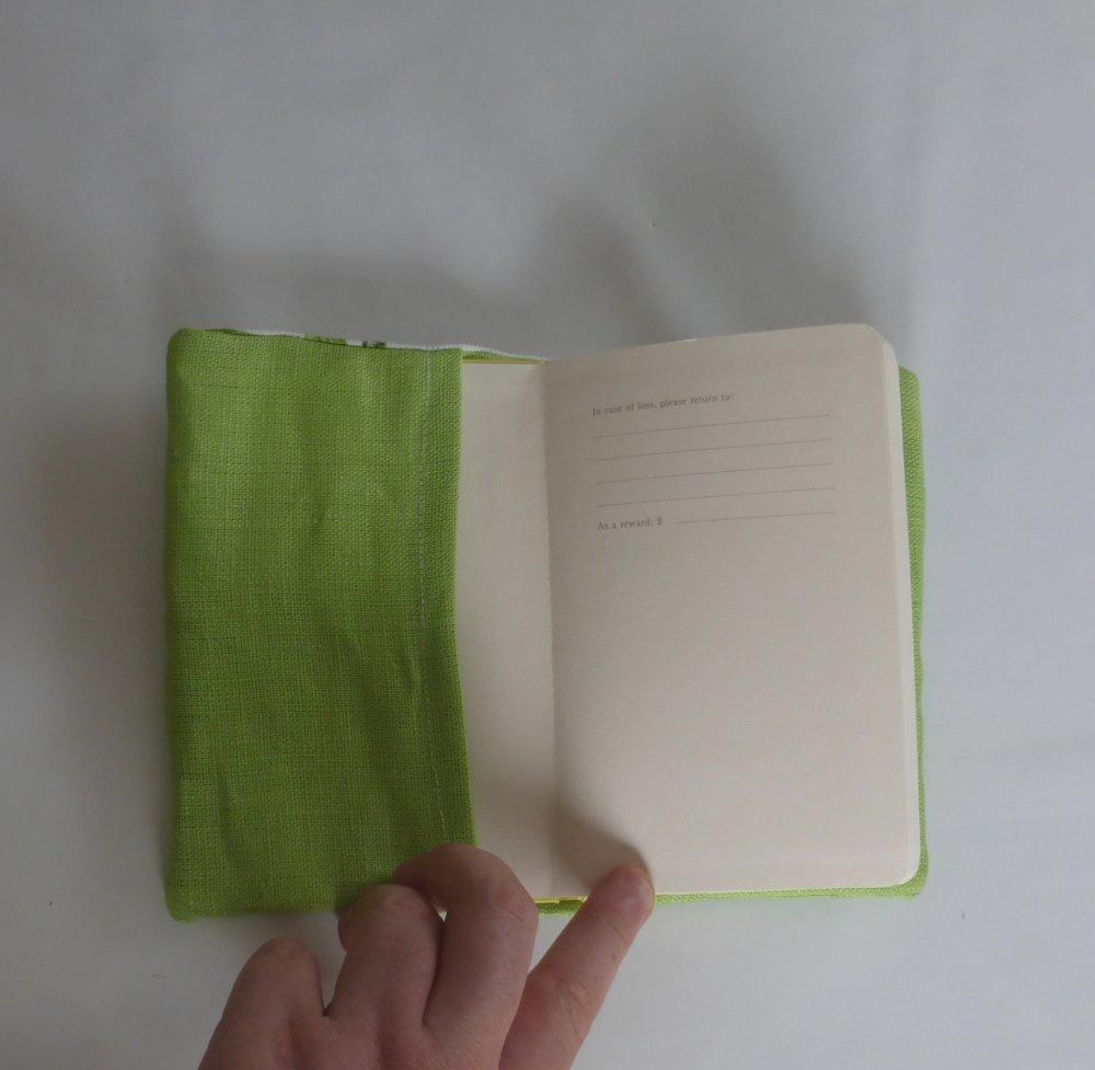Petit carnet oiseau vert en coton et lin