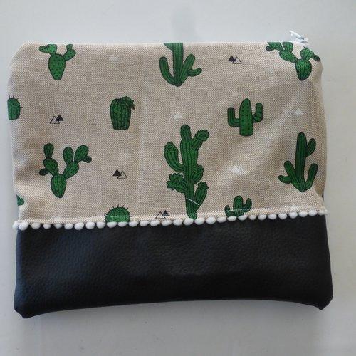 Pochette de voyage trousse de toilette sac à projet cactus vert et noir en coton et simili-cuir