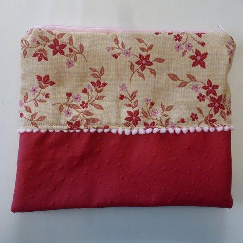 Pochette de voyage trousse de toilette sac à projet fleurs rouges en coton et simili-cuir