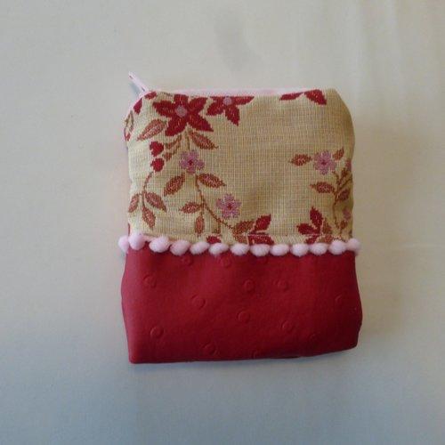 Porte monnaie fleurs rouges en coton et simili-cuir