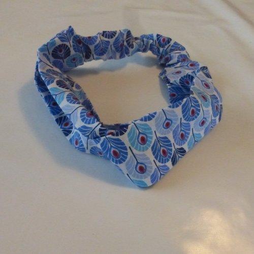 Bandeau plumes bleues coton femme