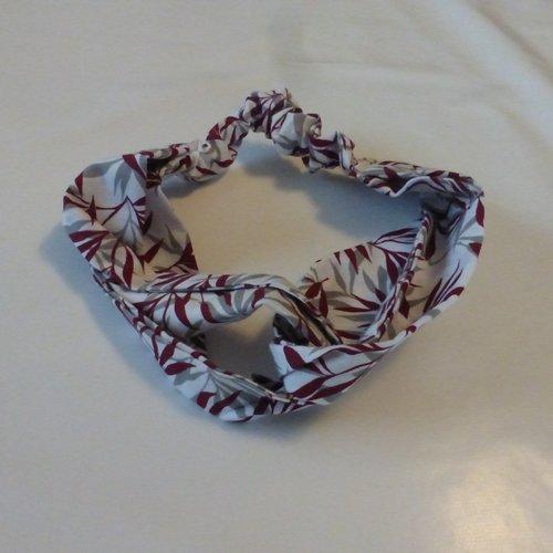 Bandeau feuilles bordeaux coton femme