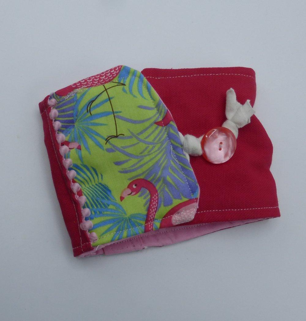 Protège chéquier flamant rose fuchsia en coton