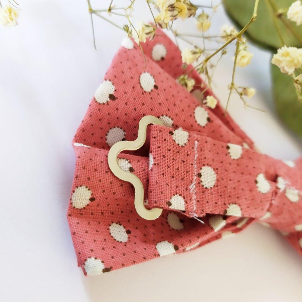 Nœud papillon corail à pois taille unique 100 % coton double épaisseur – cadeau homme