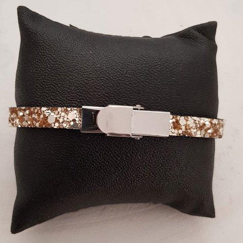 bracelet cuir paillettes