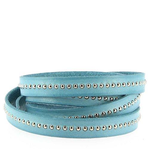Cuir bille bleu ciel de 10 mm avec chaînette bille nickel free par 20 cm