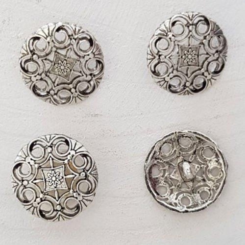 Bouton argent n°16 de 21 mm rond