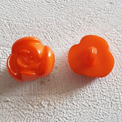 Boutons fantaisie, enfants, bébés motif fleur n°01-10 orange