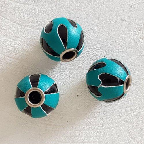 Perle ronde en cuir n°03 turquoise