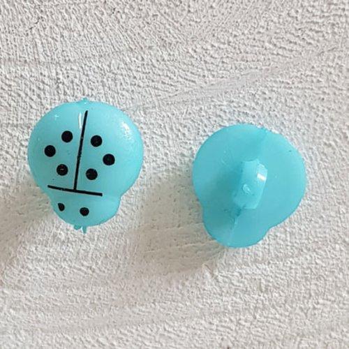 Boutons fantaisie, enfants, bébés motif coccinelle n°01-06 bleu clair