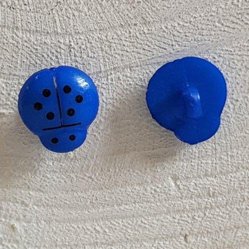 Boutons fantaisie, enfants, bébés motif coccinelle n°01-10 bleu foncé
